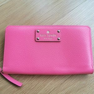 Kate Spade Hot Pink Leather Long Wallet